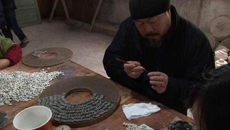 Ai Weiwei in a scene from the documentary. About 25 of the artist's works will be on display in Washington this fall.